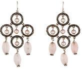 Stephen Dweck Rose Quartz & Pearl Chandelier Earrings