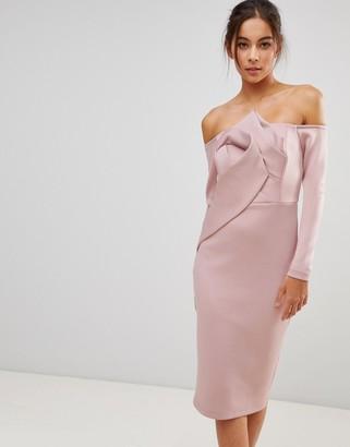 Asos Design Long Sleeve Bandeau Origami Front Midi Dress-Pink
