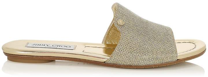 Jimmy Choo NANDA Gold Lame Glitter Slides