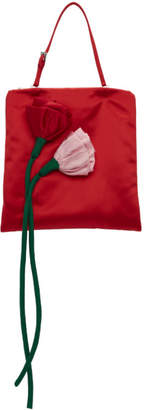 Prada Red Satin Floral Clutch