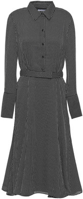 Equipment Bancort Belted Checked Crepe De Chine Shirt Dress