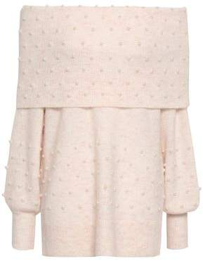 Mason by Michelle Mason Off-the-shoulder Faux Pearl-embellished Brushed Stretch-knit Sweater