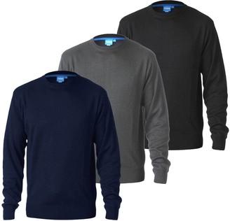 Duke D555 Mens Kingsize Big Tall Plain Crew Neck Knitted Sweater Jumper Top -Black-2XL