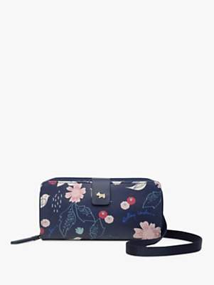 Radley Painterly Floral Phone Cross Body Bag, Dark Blue