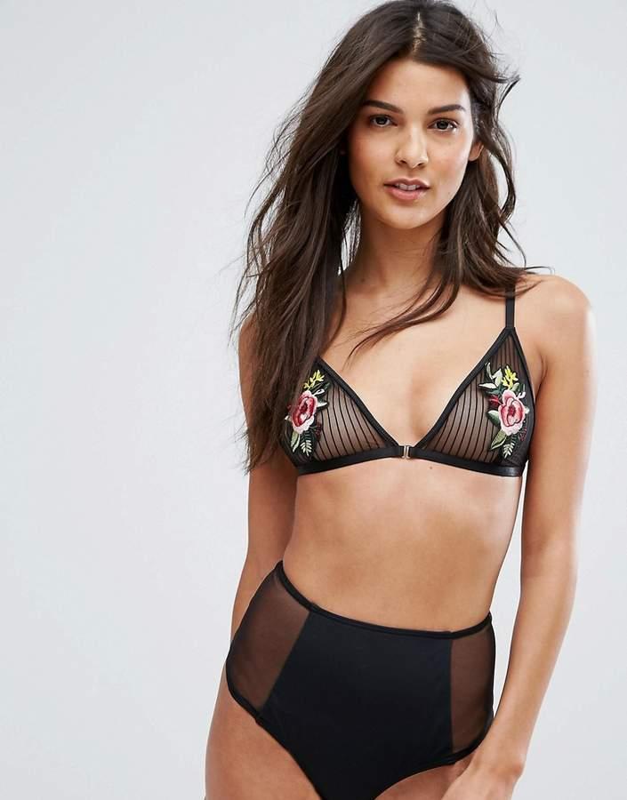 Glamorous Black Mesh Rose Applique Triangle Bra