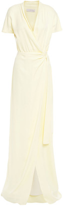 Les Héroïnes Gathered Satin-crepe Maxi Wrap Dress