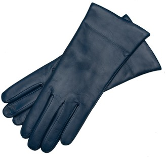 1861 Glove Manufactory Marsala - Women's Minimalist Leather Gloves In Jeans Blue Nappa Leather