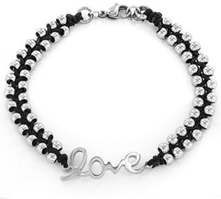 West Coast Jewelry Stainless Steel Beaded and Braided Cord 'Love' Bracelet