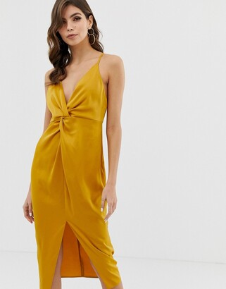 Asos Design DESIGN midi strappy cami dress with knot front plunge in satin-Gold