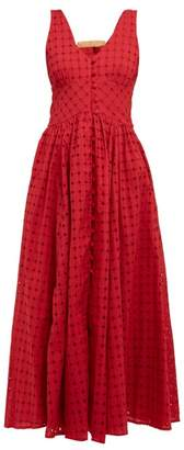 Cult Gaia Angela Buckled Broderie-anglaise Cotton Dress - Womens - Dark Red