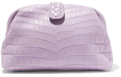 Bottega Veneta Lauren Crocodile Clutch - Lilac