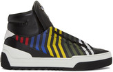 Fendi Black Faces Zig Zag High-top Sneakers