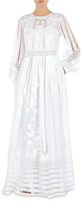 Alberta Ferretti Hand-Embroidered Muslin Gown