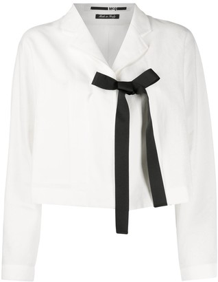Mcq Swallow Cropped Bow Tied Jacket