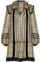 Marc Jacobs Point D'esprit-trimmed Printed Cotton And Silk-blend Gauze Mini Dress - Green