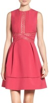 Adelyn Rae Women's Lace Trim Fit & Flare Dress