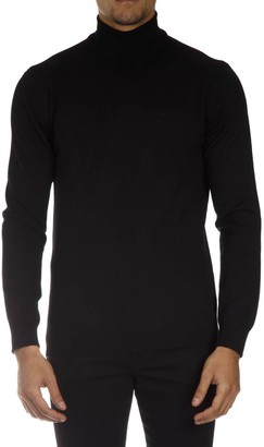 Emporio Armani Black High Neck Wool Pullover