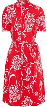 Carolina Herrera Belted Floral-print Stretch-cotton Poplin Shirt Dress