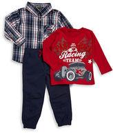 Nannette Boys 2-7 Plaid Sportshirt, Graphic Tee and Pants Set