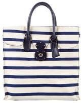 Ralph Lauren Rickie Striped Canvas & Leather Tote