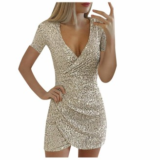 Hulky Women's Dresses HULKY Women Sparkly Sequin Dresses Cocktail Dress Sexy Club Outfits V Neck Bodycon Glitter Slim Elegant Party Dress Black