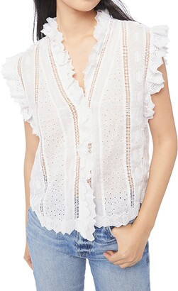 Frame Lauren Ruffle Trim Sheer Eyelet Top