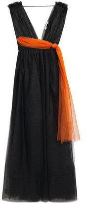 MSGM Knotted Gathered Tulle Midi Dress