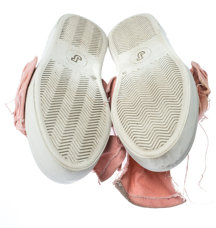 Thumbnail for your product : Joshua Sanders Light Pink Canvas Bow Slip On Sneakers Size 40