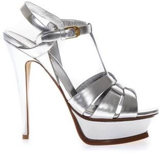 Saint Laurent Tribute Silver Metallic Leather Sandals
