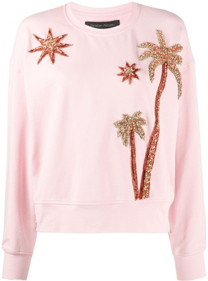 Christian Pellizzari Long Sleeve Embellished Palm Tree Jumper