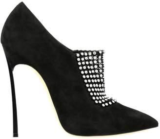 Casadei Blade Bellatrix Ankle Boots In Suede With Rhinestones