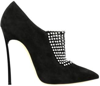 Casadei Blade Bellatrix Ankle Boots In Suede With Rhinestones