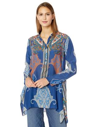 Johnny Was Women's Printed Tab Sleeve Handkerchief Blouse