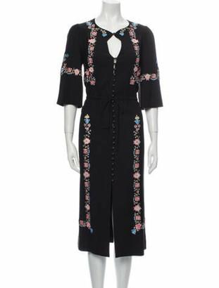 Vilshenko Floral Print Midi Length Dress Black