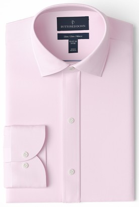 Buttoned Down Slim Fit Spread Collar Solid Non-Iron Dress Shirt Light Pink/Pockets 17 Inches Neck 35 Inches Sleeve