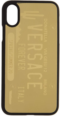 Versace Gold License Plate Logo iPhone X/XS Case