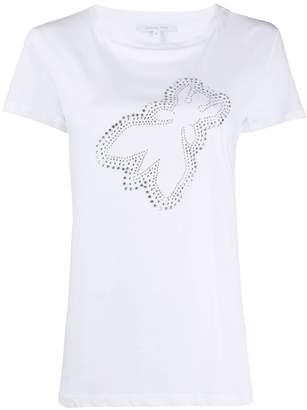 Patrizia Pepe crew neck stud embellished T-shirt