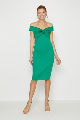 Coast Twist Bardot Neckline Ponte Midi Dress