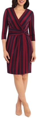 London Times Diagonal Stripe Printed Jersey Side Drap Sheath