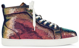 Christian Louboutin Louis Iridescent Paillette High-Top Sneakers