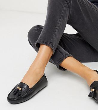 Dune Wide Fit gaze leather tassel loafer flat shoes in black