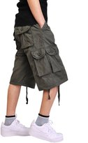 Tina Silvergray Men's Cotton Solid Color Cargo Shorts