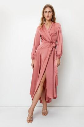 Nasty Gal Womens Satin Long Sleeve Wrap Maxi Dress - Pink - 4