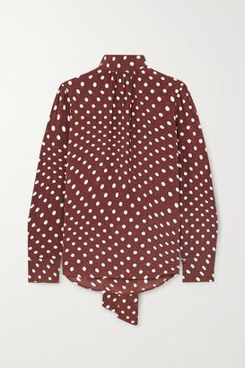 ALEXACHUNG Tie-detailed Polka-dot Crepe Blouse - Brown