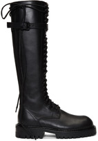 Ann Demeulemeester SSENSE Exclusive Black Leather Lace-Up Boots