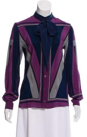 Alexis Mabille Silk Long Sleeve Top