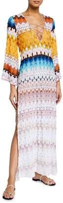 Missoni Mare Lace-Up Long-Sleeve Maxi Coverup Dress