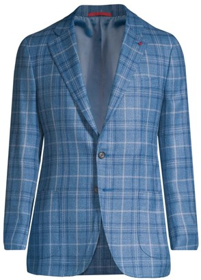 Isaia Summertime Plaid Wool, Silk & Linen Single-Breasted Sport Coat