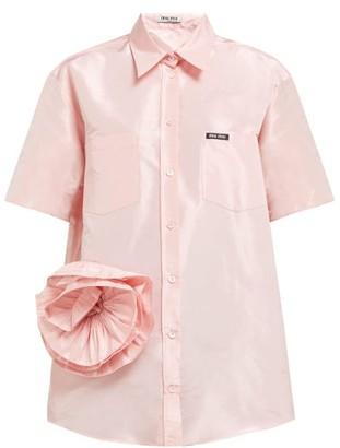 Miu Miu Rosette Silk Taffeta Shirt - Womens - Light Pink