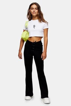Topshop Womens Petite Black Lace Up Flare Trousers - Black
